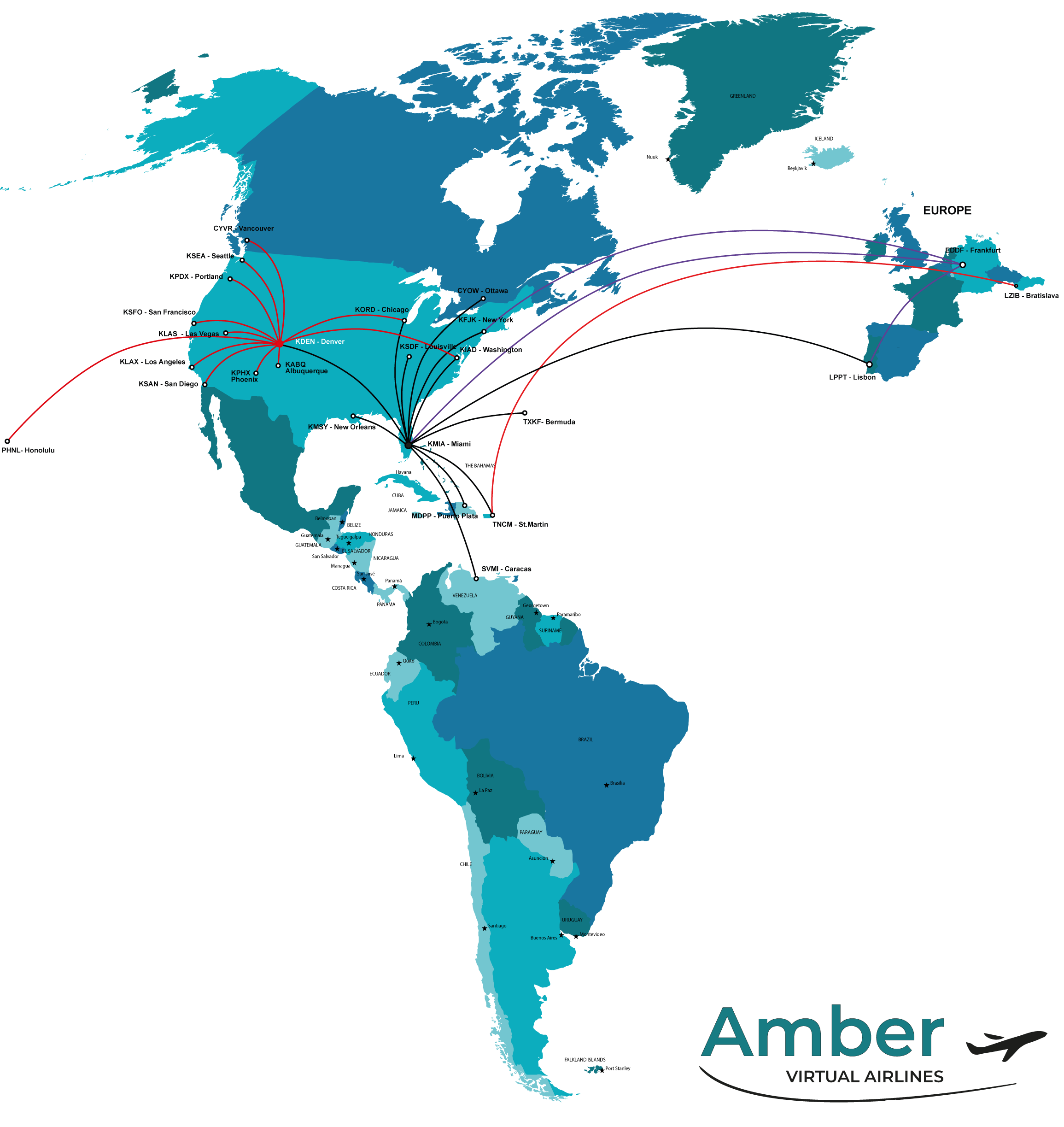 Amber Airline map